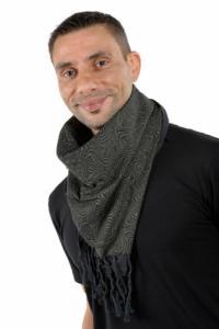 Cheche foulard coton epais noir kaki psychedelic