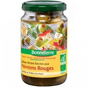 Olives vertes farcies aux poivrons rouges bio - Bonneterre