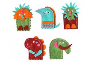 Marionnettes à doigts - Dinos
