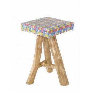 Coco Tabouret en bois et assise en centimètres de couturières détournés