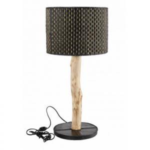 Lampe Stick en bois d'eucalyptus, chambre à air recyclée et bambou
