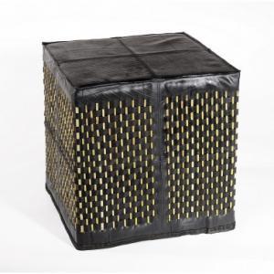Pouf carré Stick en chambre à air recyclée et bambou