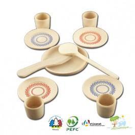 Dinette en bois  colorée 11 pièces