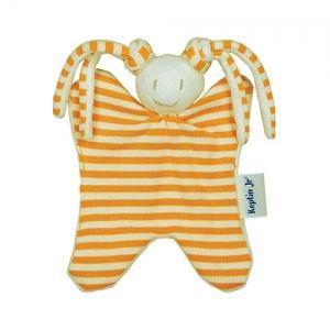 Keptin-jr  doudou hochet lapin girly orange - doudou ecologique