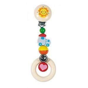 Clip hochet locomotive heimess - jouets en bois