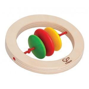 Hochet naturel rond 3 couleurs - jouets bio hape