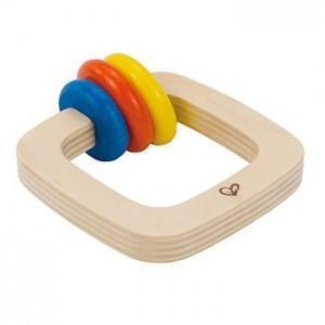 Hochet bio carré 3 couleurs - jouets bio hape