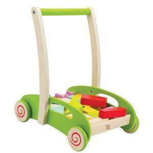 Chariot hape marche - cubes - jouets en bois  bio hape