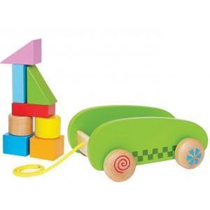 Jouet chariot à tirer mini - cubes - jouets bio hape