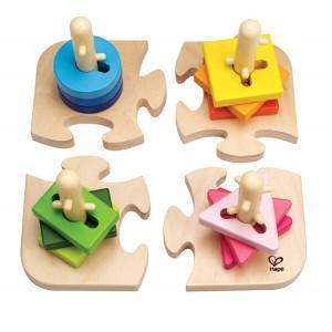 Puzzle de formes à boutons - jouets bio hape