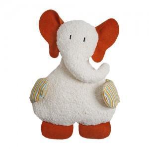Doudou elephant orange - blanc 54 cm - doudou bio naturel efie