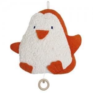 Doudou musical coton organic bio pingouin orange - blanc 24 cm -