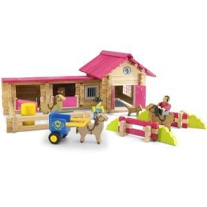 Jouet poney club en rondins (180 pcs) jeujura - jouets en bois