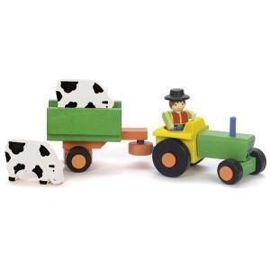 Coffret tracteur remorque - animaux  jeujura - jouets ecologiques