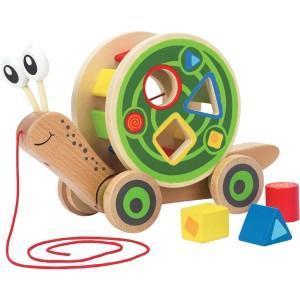 Hape jouet à tirer escargot roulant avec jeu de formes  - jouets
