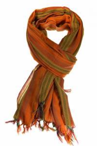 Cheche foulard ethnique multi degrade tisse orange vert