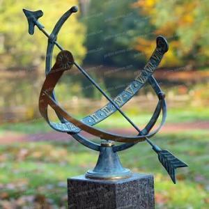 Cadran solaire armillaire demi-cercle bronze