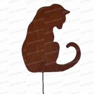 Silhouette chat assis intrigué - déco de jardin en métal