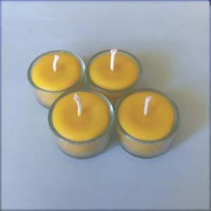 4 bougies veilleuses chauffe-plats en cire d'abeille naturelle dans supports en verre