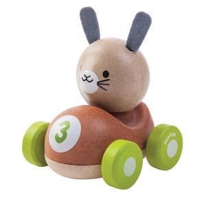 Petite voiture lapin de course  'planwood'  - jouet plantoys planwood
