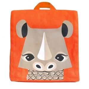 Cartable maternelle coton bio orange rhinoceros -  mibo