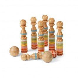 9 quilles en bois rubanées 24 cm