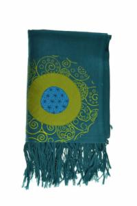 Cheche foulard coton multi patch ethnic print bleu vert