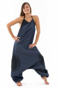 Combi sarouel femme blue jean et coton noir street chic