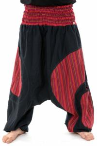 Sarouel grande taille elastique noir rouge Pataya