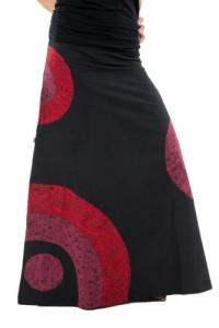 Jupe longue psychedelic nepali dream noir rouge hiver