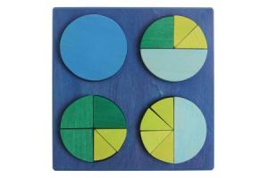 Cercle des fractions en bois