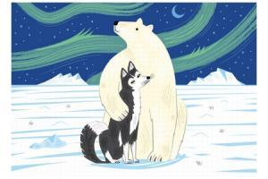 Puzzle en bois L'ours et le husky 12 pcs
