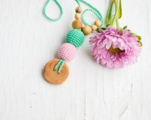 Collier d'allaitement et de portage Mint - Baby pink Genévrier - KC026