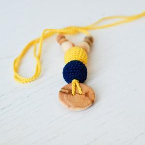 Collier d'allaitement et de portage Yellow - Navy blue Genévrier - KC025