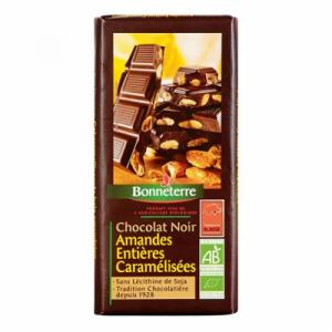Chocolat noir amandes caramel 200g