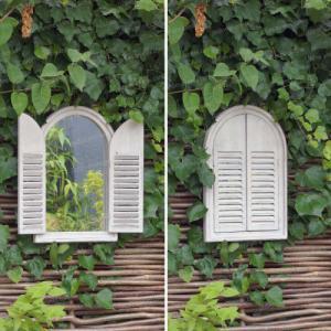 Miroir en bois - 2 portes - blanc ivoire