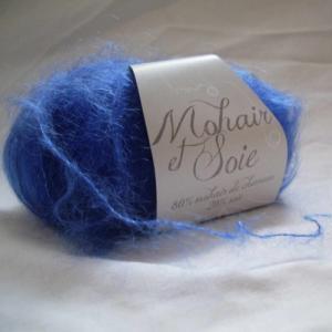 Fil à tricoter mohair de chevreau et soie bleu outremer