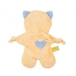 Doudou Flat Cat jaune et bleu bébé