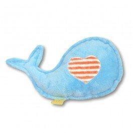 Doudou bébé baleine bleu rayures melon