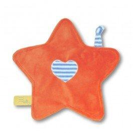 Doudou petite étoile orange rayures bleues