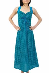 Robe longue boheme imprime ethnique babacool bleus Delya
