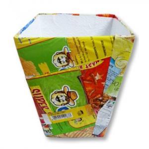 Poubelle de bureau Disco en emballages recyclés - commerce équitable Artisanat Sel, Inde