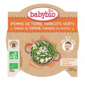 Assiette Menu Babybio 12 mois Pomme de terre, haricots verts et Dinde