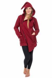 Manteau ethnique asymetrique mi long capuche pointue Flax rouge bordeaux uni
