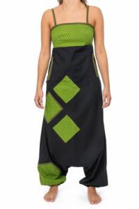 Combinaison saroual patchwork geometric star Jina noir vert