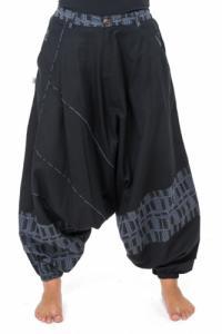 Pantalon sarouel mixte urban ethnique noir gris bleu Naheda
