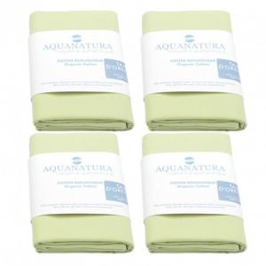 Lot 4 taies coton bio Aquanatura Couleur Vert Dimensions 65x65