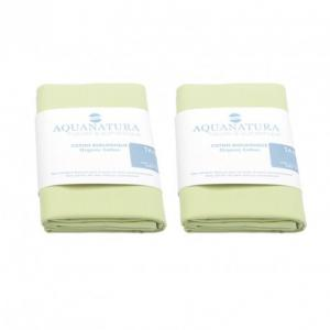 Lot 2 taies coton bio Aquanatura Couleur Vert Dimensions 60x40