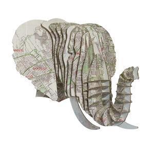 Tête Eléphant en Carton Recyclé Los Angeles - Taille M