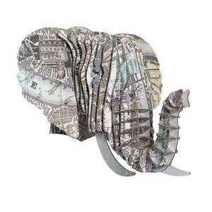 Tête Eléphant en Carton Recyclé London - Taille M